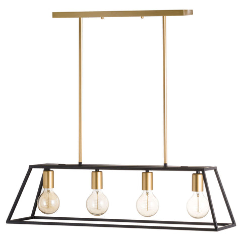 Black and Brass Four Bulb Framed Light