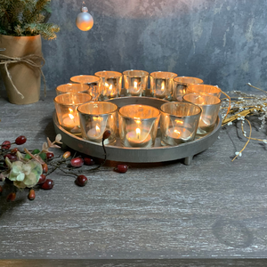 Circular Cast Aluminium Votive Tray with Silver Glass Votives