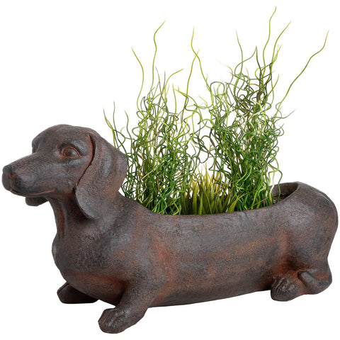 Ernie The Sausage Dog Rustic Planter - Outdoor