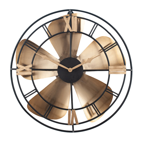 Antique Brass and Black Metal Fan Design Wall Clock