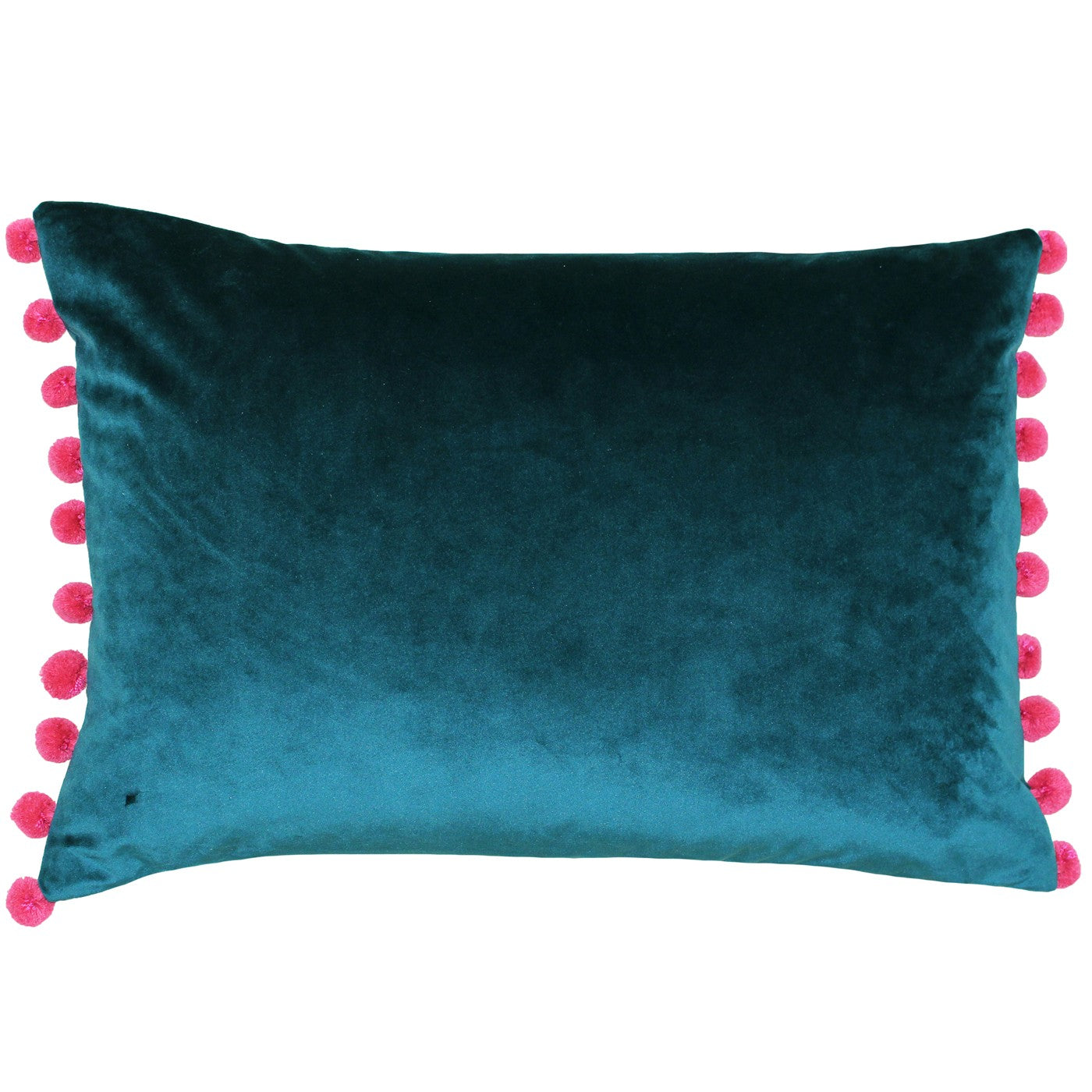 Fiesta Pom Pom Velvet Cushion - Teal / Raspberry