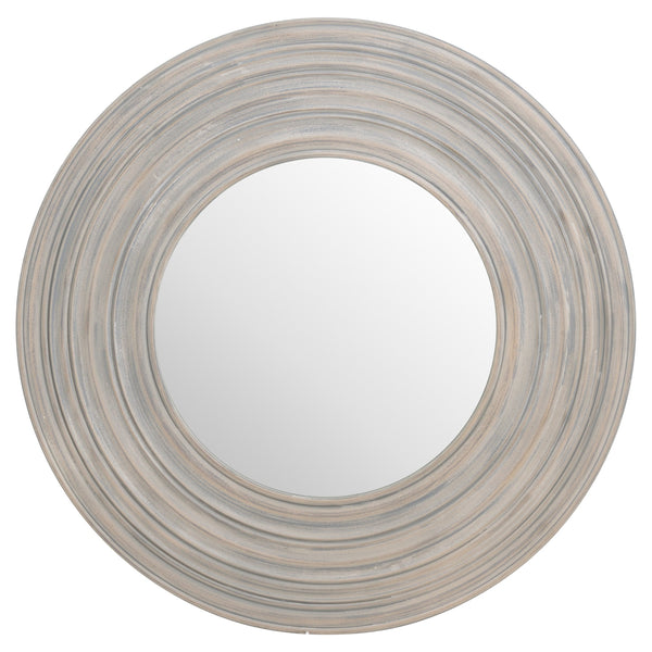 Grey Painted Round Ribbed Mirror