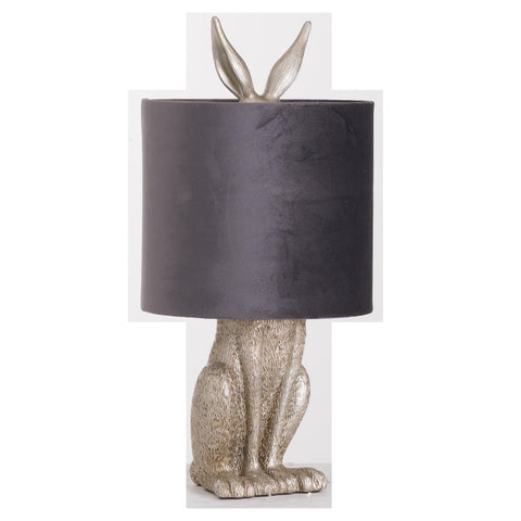 Hetty Hare Table Lamp with Grey Velvet Shade