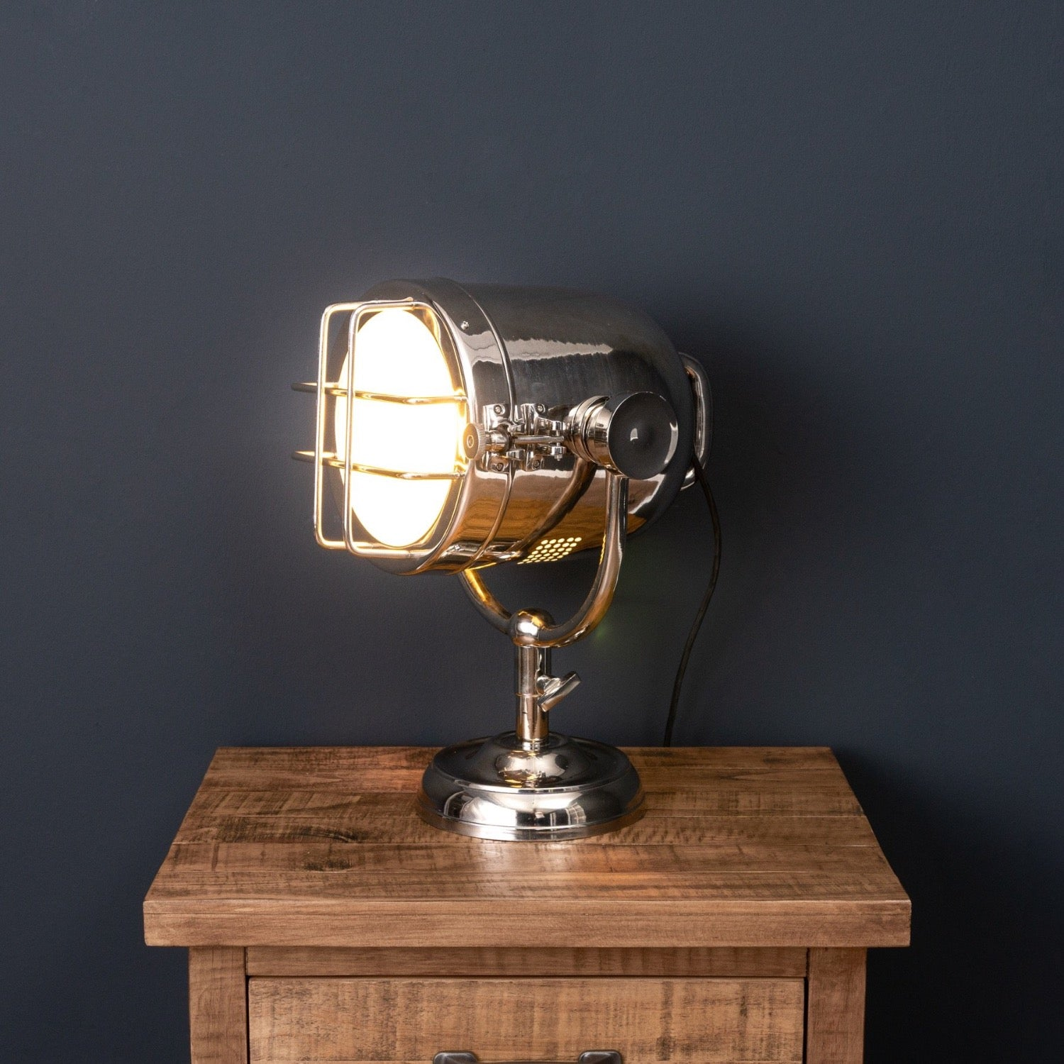 Nickel Industrial Spotlight Table Lamp