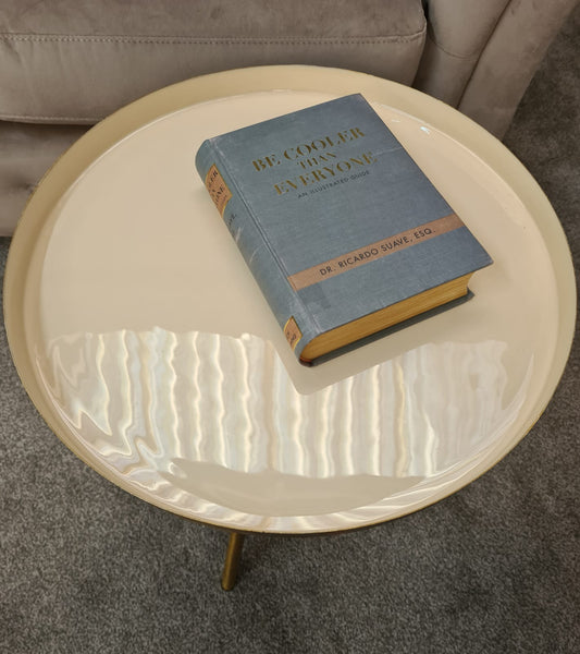 Luna Side Table with Cream Top