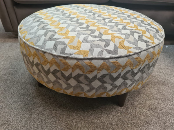 Oslo Round Footstool in Nikon Gold - Express Delivery