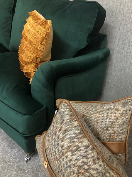 The Beatrix Collection 3 Seater Sofa in Emerald Velvet with Dark Oak Castors