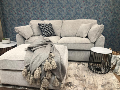 The Lorna Collection 2 Seater Sofa in Lassie Silver with Mid Oak Feet
