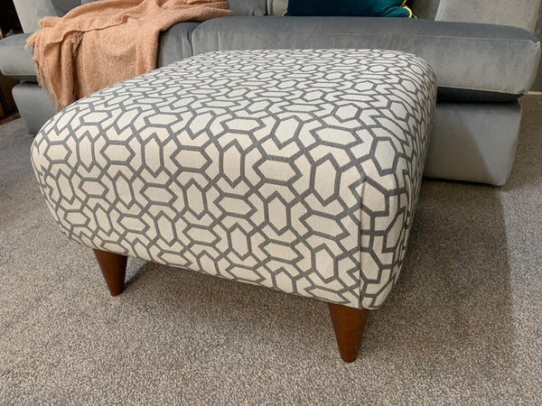 Small Hugo Footstool in Salute Silver