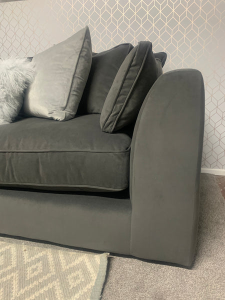 Limited Edition Large Bossanova Collection Corner Chaise in Plush Asphalt Velvet (Right Hand Corner) - Express Delivery