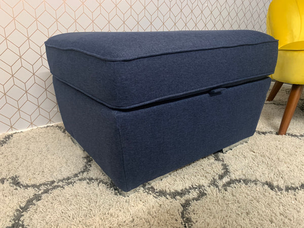 Sample Sale - Navy Gas-lift Storage Footstool with Chrome Feet