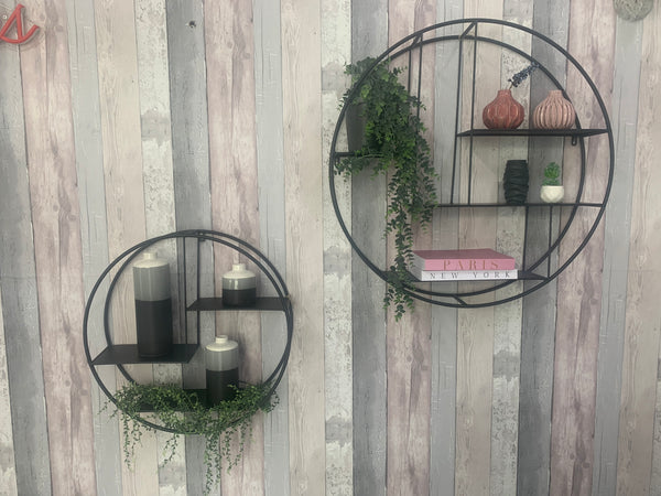 Black Metal Circular Wall Shelf (Two Size Options)