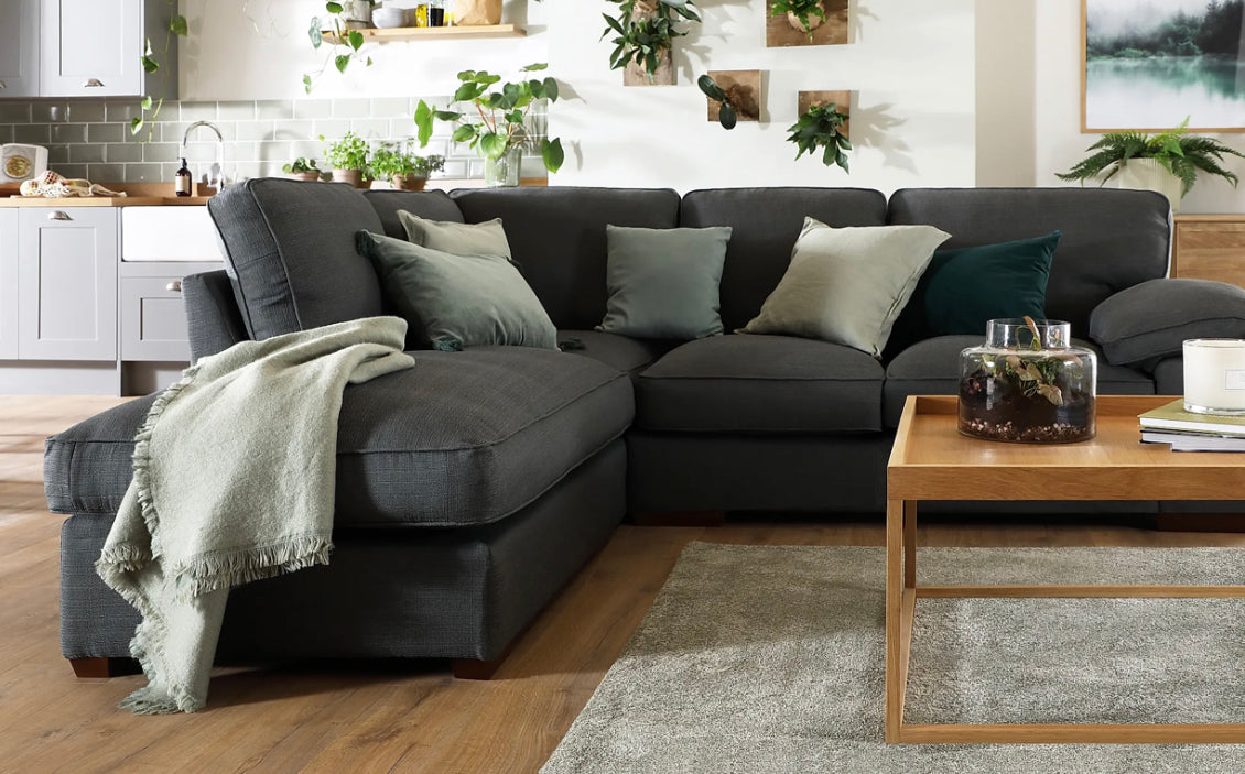 Arriving Feb! - Cassie Corner Chaise in Barley Graphite (Left and Right Hand Facing Available)