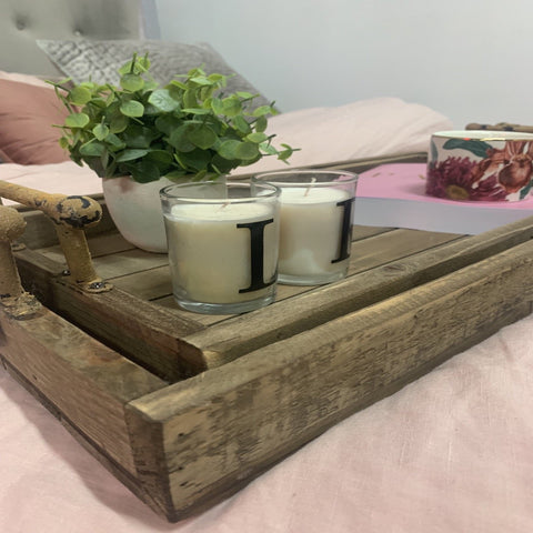 Rustic Set of 2 Trays with Metal Handles