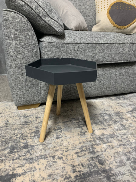 Hexagonal Scandi Style Side Tables with Pine Legs (Grey, Ochre, White)