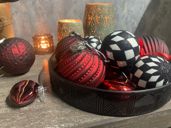 Box of 12 Large Dark Matt Red Patterned Baubles