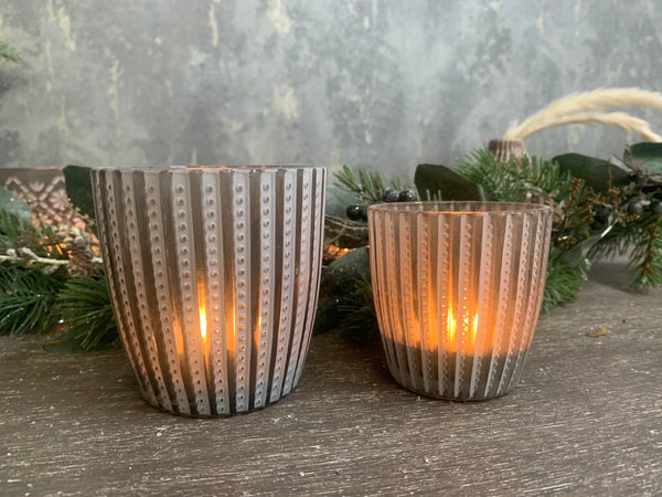 Set of 6 Grey Frosted Glass Tealight Candle Holders