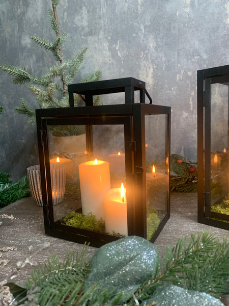 Apollo Set of Two Black Iron Lanterns