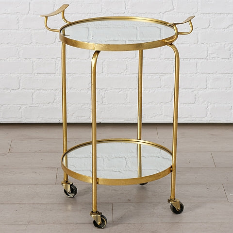 Kimmie Round Drinks Bar Cart in Textured Gold with Mirrored Shelves