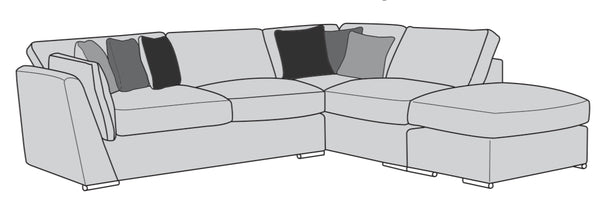 The Lola Collection Corner Chaise & Footstool Sofabed (Right Facing Corner)