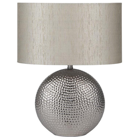 Mabel Lamp in Silver with Natural Shade