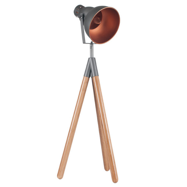 Grey Metal & Wood Tripod Film Table Lamp