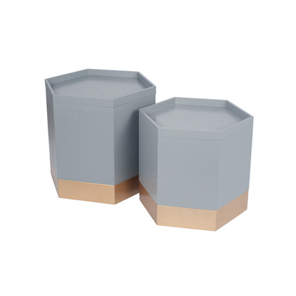 Hexagonal Storage Box Nesting Side Tables
