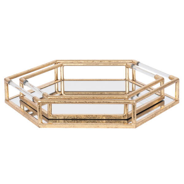 Pair of 2 Deco Style Gold Metal & Mirrored Trays
