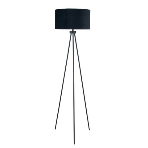 Tripod Floor Lamp - Matt Black Velvet Shade