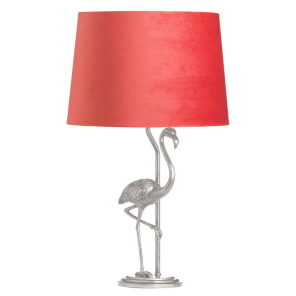 Antique Silver Flamingo Lamp with Coral Shade