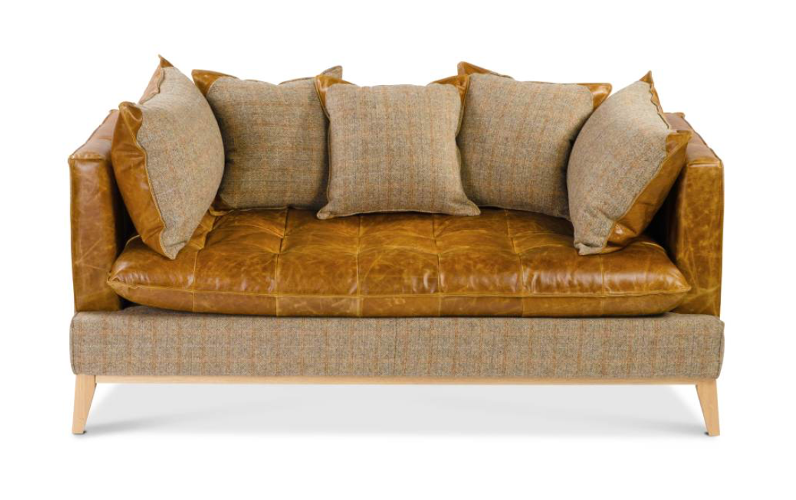 The Harris Tweed & Leather Portland 3 Seater Sofa