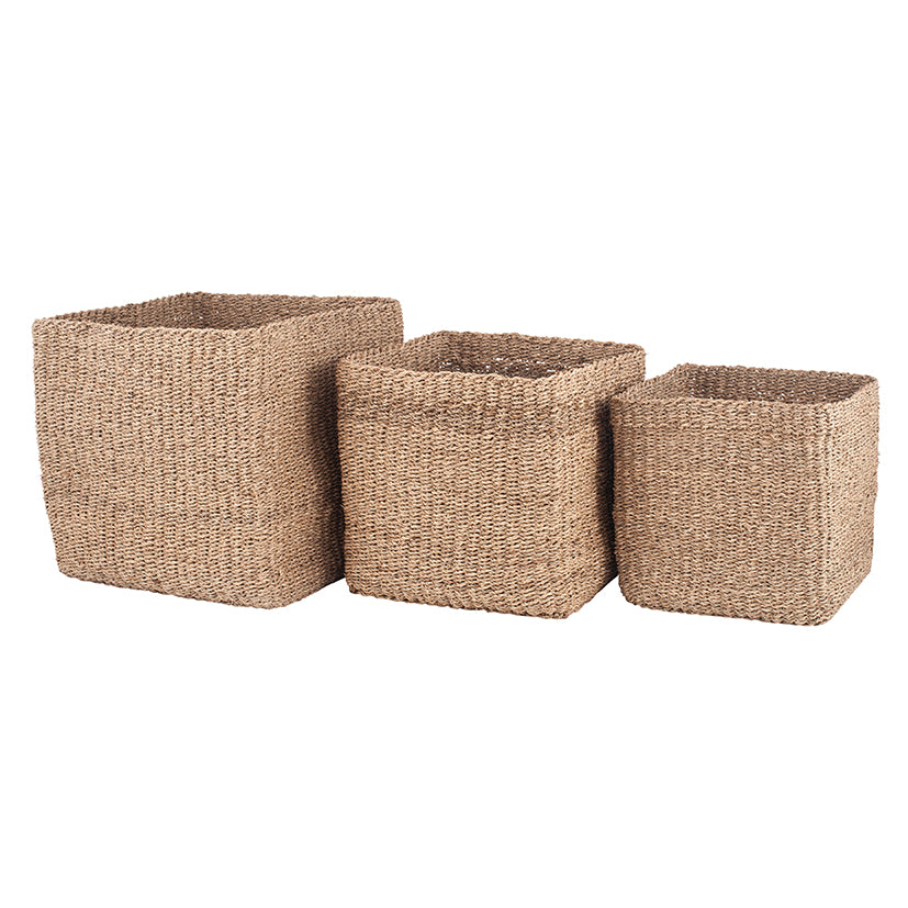 Set of 3 Woven Natural Seagrass Cube Baskets