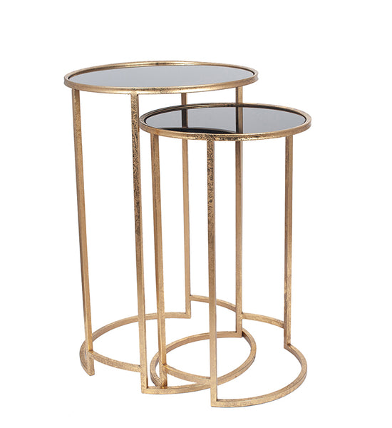 Deco Style Black and Antique Gold Set of Two Side Tables