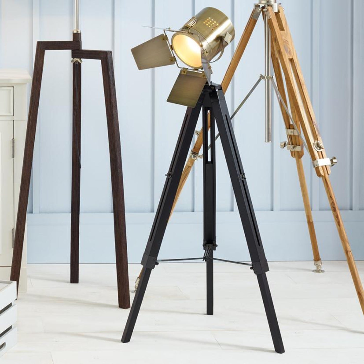 Shutter Black wood and Metal Tripod Lamp - Size option