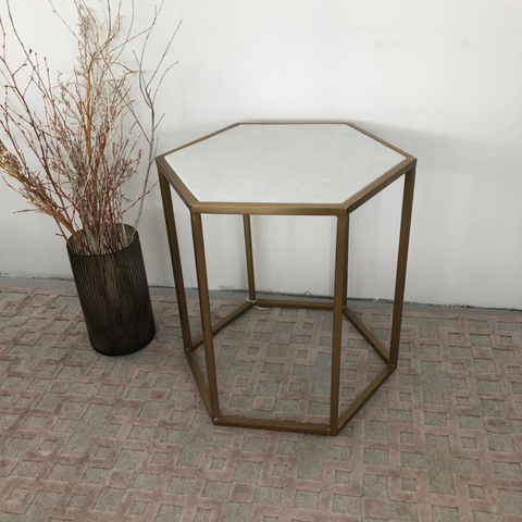 Hexagonal Brass and Marble Side Table - Ex Display