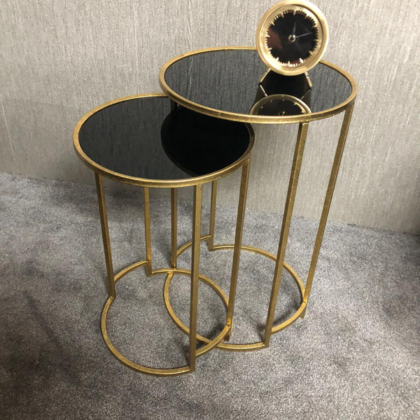Deco Style Antique Gold & Black Half Moon Console Table