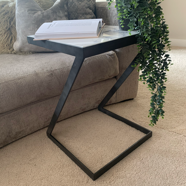 Grey and Marble Z Sofa Table