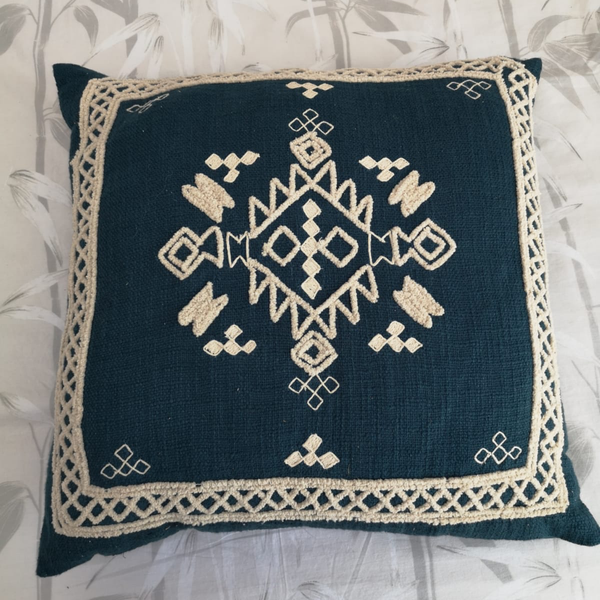 Large Boho Handcrafted Cushion - Teal