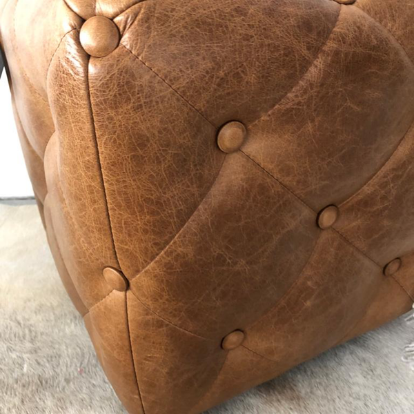 Leather Buttoned Footstool - Express Delivery