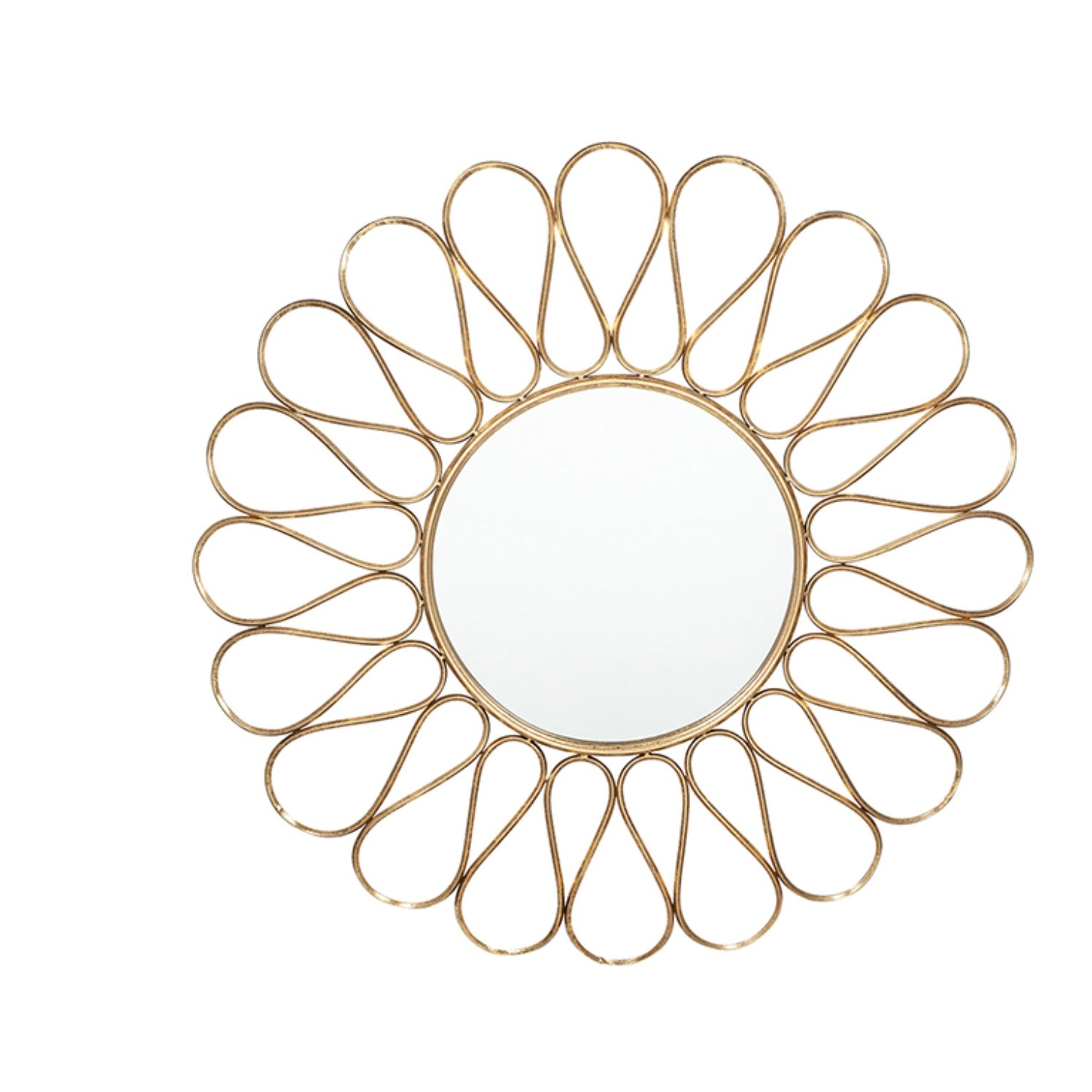 Petal Design Round Wall Mirror in Antique Gold