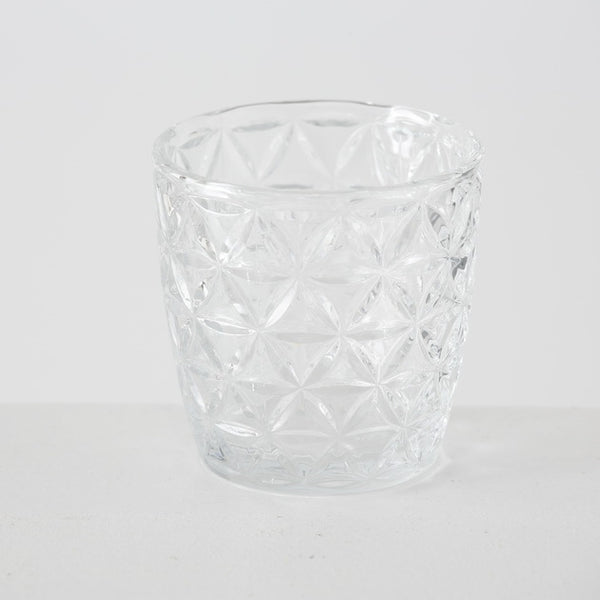 Set of 4 Clear Glass Tealight Holders