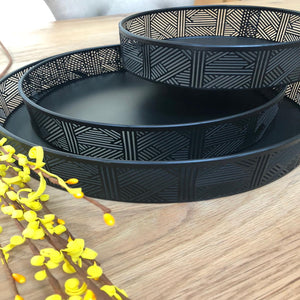 Luka Set of 3 Decorative Black Iron Trays