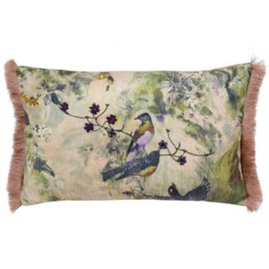 Fringed Vintage Birds Cushion