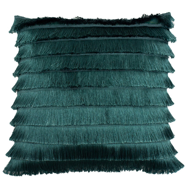Flicker Fringed Cushion - Teal