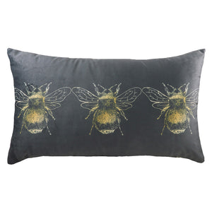 Gold Bee Cushion - Grey