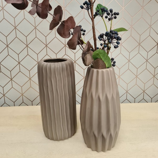 Set of Two Natural Stoneware Vases