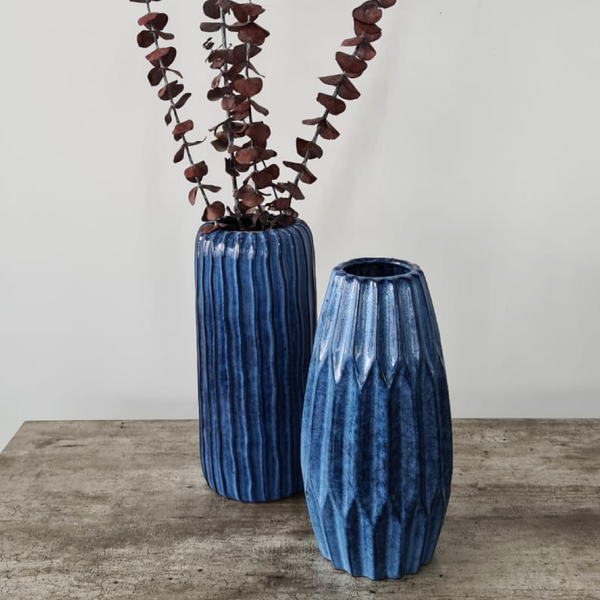 Set of Two Blue Stoneware Vases