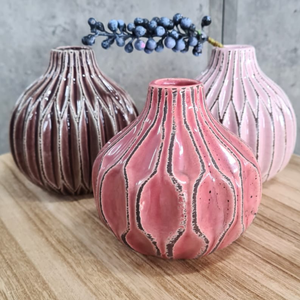 Set of 3 Stoneware Vases
