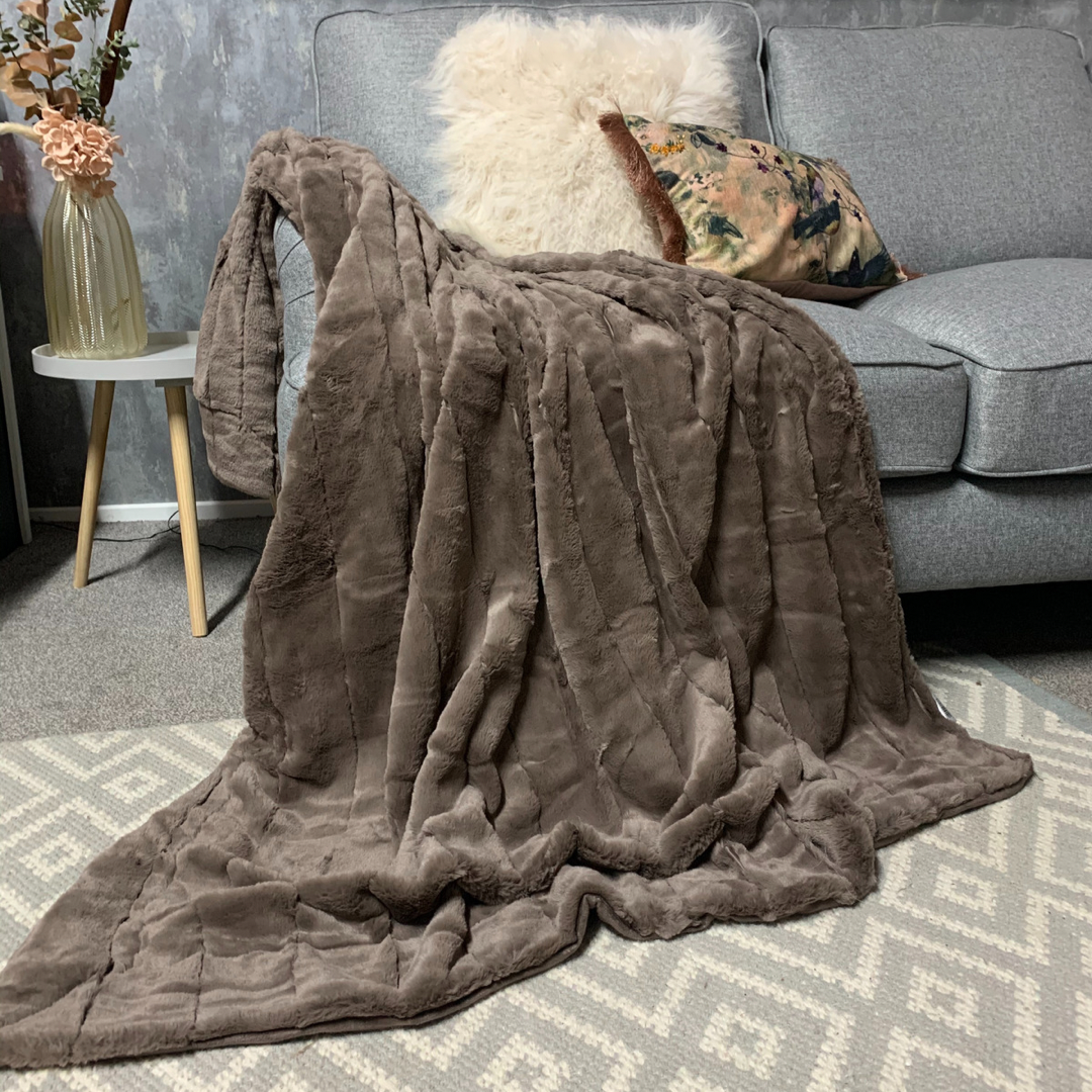 Harper Luxe Faux Fur Throw - Taupe