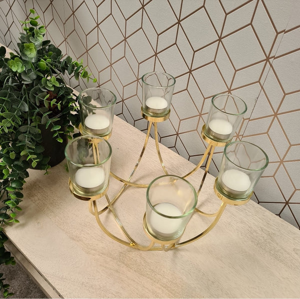 Cassia Gold 6 Candle Holder